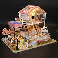Hoomeda 13846 Sweet Words DIY Дом с мебелью Музыкальная обложка Авто Миниатюрная модель Подарочный декор