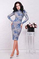 """Трикотажное серое платье-гольф в рубчик с длинным рукавом, синее розы """"Tiffany"""""""