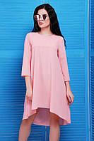 """Свободное асимметричное розовое платье с рукавом 3/4, длиннее сзади """"Viva"""""""