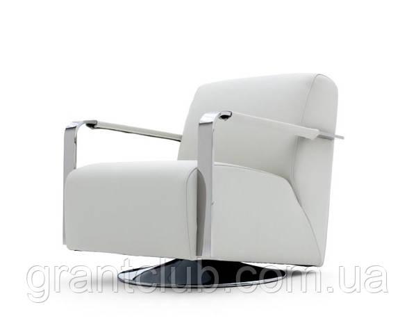 М'яке поворотне крісло з хромованими підлокітниками ELLE фабрика ALBERTA (Італія)