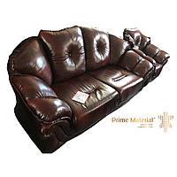 Комплект кожаной мебели Loretta. Кожаный диван трехместный и 2 кресла