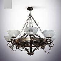Люстра из дерева 8 ламповая для кухни, кафе, ресторанов 19201