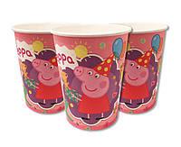Стаканчики детские праздничные одноразовые«Свинка ПЭППА», объем 250 мл