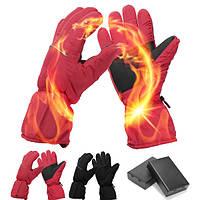 Водонепроницаемы Перезаряжаемый Электрический Батарея Подогрев Перчатки Для Мужчин Женское Лыжи Зима