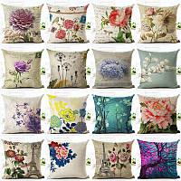 Винтаж Цветы и талия квадратные хлопчатобумажные льняные подушки Обложка Декоративные подушки кресла кресло