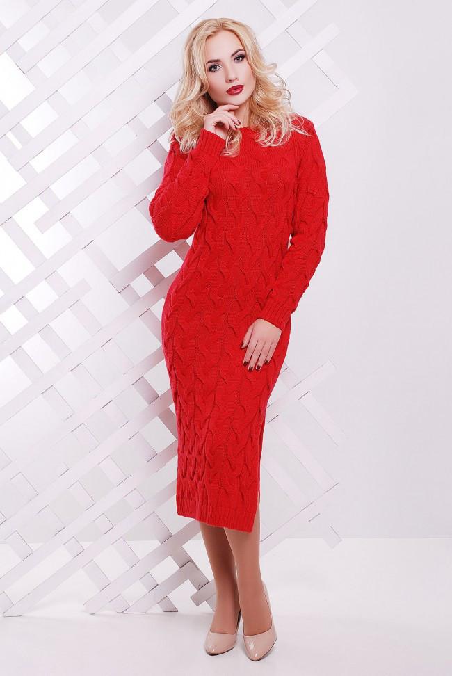 """Вбрання тепле в'язане плаття міді в косичку з розрізами з боків """"LOLO"""" червоне"""