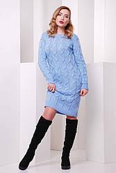 Женское вязанное теплое платье миди с длинным рукавом голубое