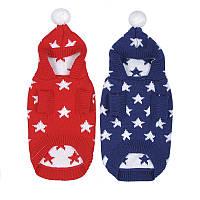 РождественскаязвездаЗимнийтеплыйсвитердля домашних животных Собака Кот Толстовка с капюшоном Pappy Комбинезоны С Шапка