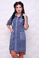 """Асимметричное синее платье-рубашка на пуговицах в клетку, с карманами """"Mystery"""""""