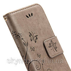 Шкіряний чохол для iPhone 6/6s Korecase iPhone 6/6S Leather Flip Case Cover Butterfly & Flower Pattern Grey