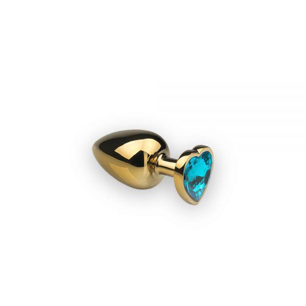 SLash - Анальная пробка,Gold Heart, бирюзовый камень, S