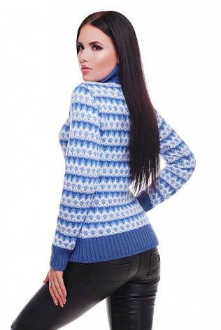 """Теплый вязаный женский свитер под горло """"ANNY"""" джинс ромбики, фото 2"""