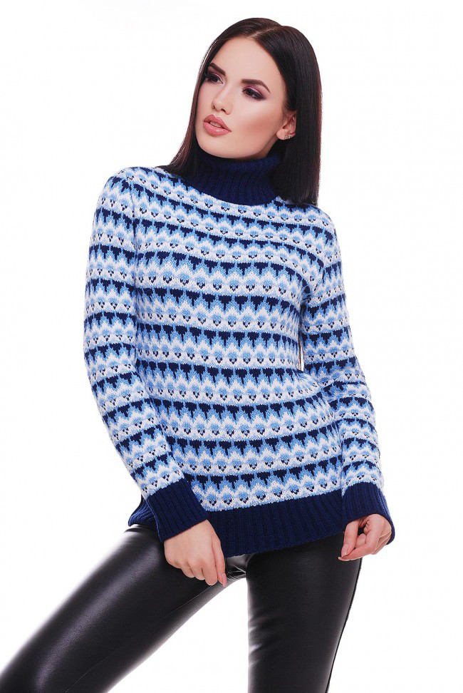 "Теплый вязаный женский свитер под горло ""ANNY"" темно-синий ромбики"