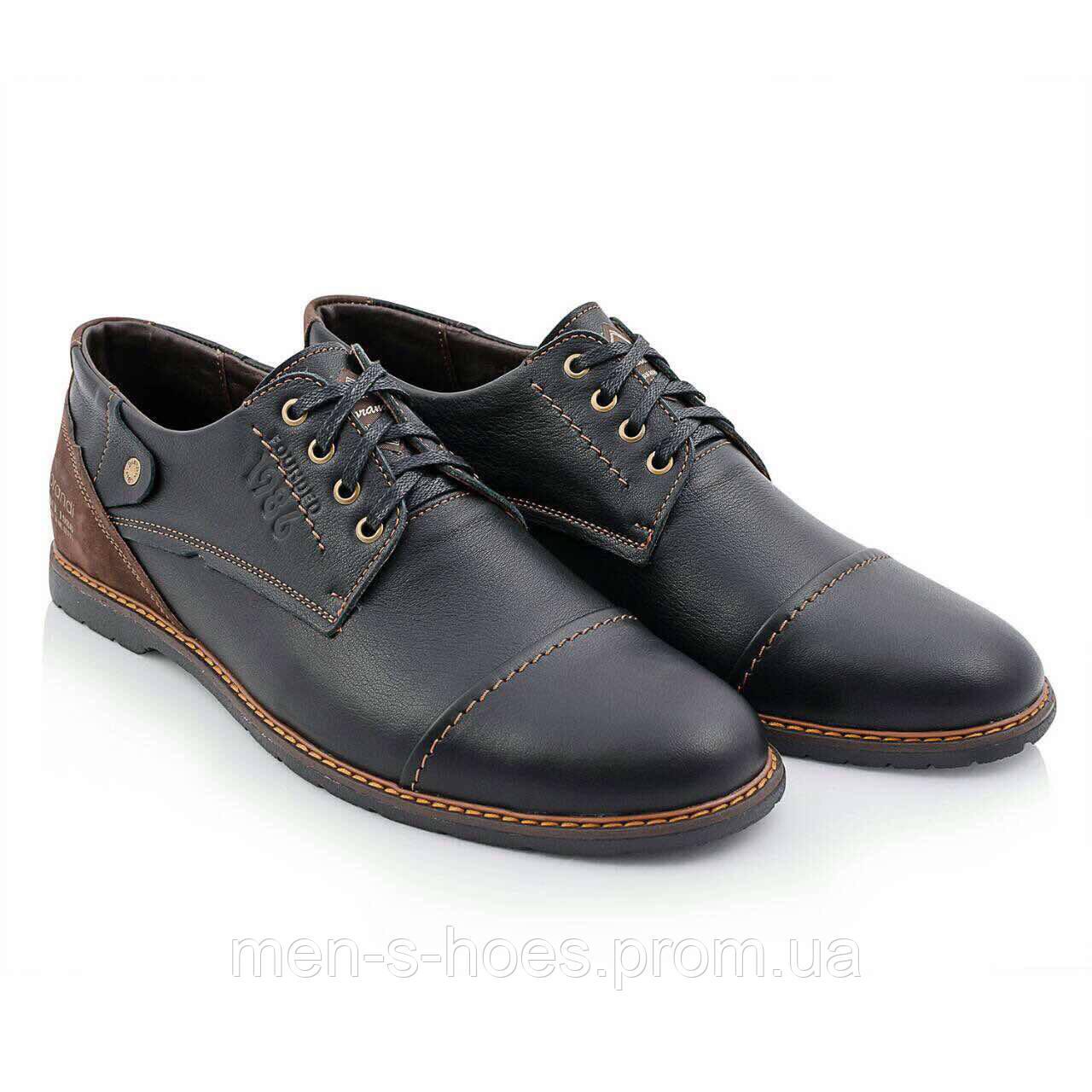 Туфли мужские кожаные Lorandi Shoes Black