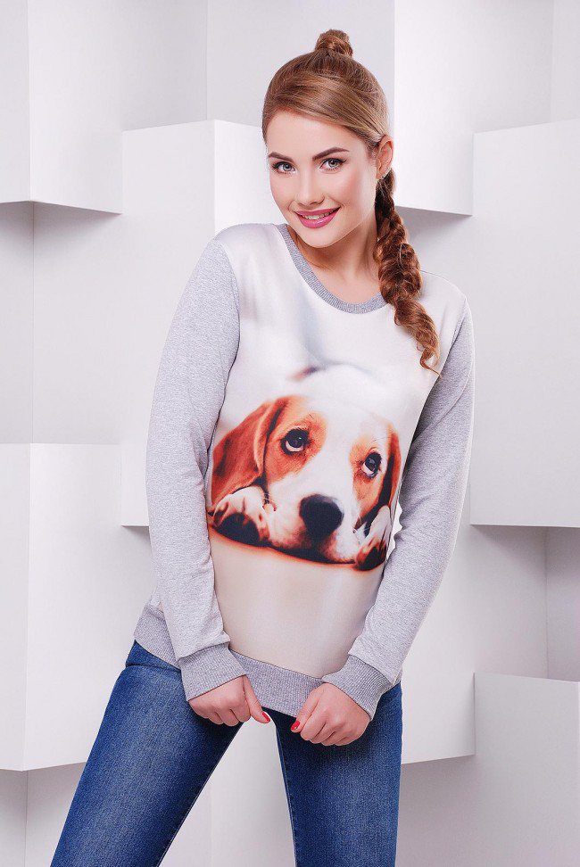 """Жіночий світшот """"Cotton"""" з принтом Собака 44"""