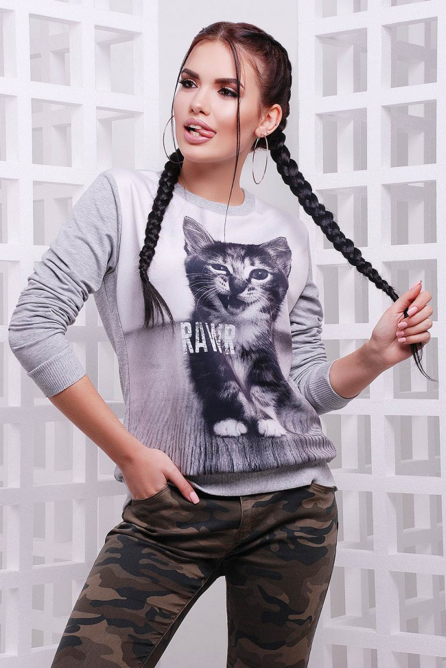 """Женский спортивный светло-серый свитшот на резинке с животным принтом Котенок Rawr """"Cotton"""""""