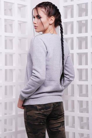 """Женский спортивный светло-серый свитшот на резинке с животным принтом Котенок Rawr """"Cotton"""", фото 2"""
