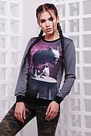 """Женский спортивный темно-серый свитшот на резинке с животным принтом Французский бульдог """"Cotton"""""""