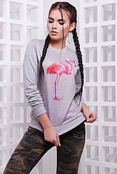 """Женский спортивный темно-серый свитшот на резинке с принтом Фламинго """"Cotton"""""""