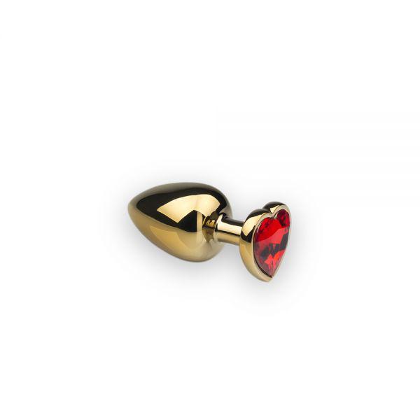 SLash - Анальная пробка,Gold Heart, красный камень, S