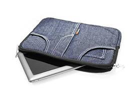 """Чехол для нетбука, планшета, iPad до 11"""" джинс, синий, подкладка замш"""