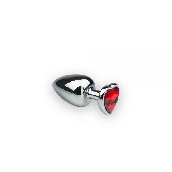 SLash - Анальная пробка,Silver Heart, красный камень, S