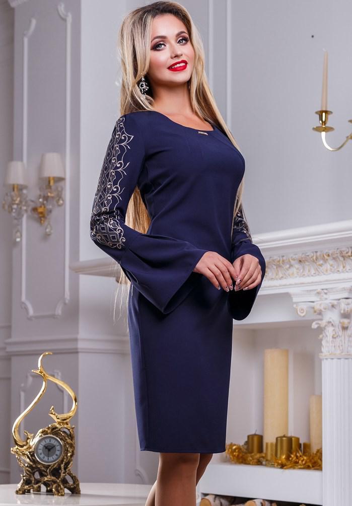 Платье до колен синего цвета Д-528