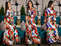 Длинное платье рубашка в пол в яркой расцветке с поясом в комплекте