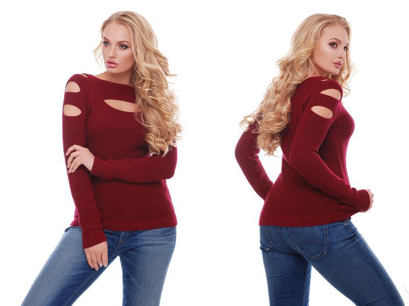 Женский красивый свитер / размер один 46-50 / цвет бордо