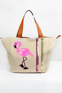 Вместительная сумка Фламинго кремовая