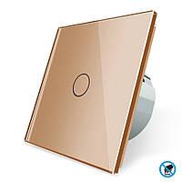 Бесконтактный выключатель Livolo золото стекло (VL-C701PRO-13)