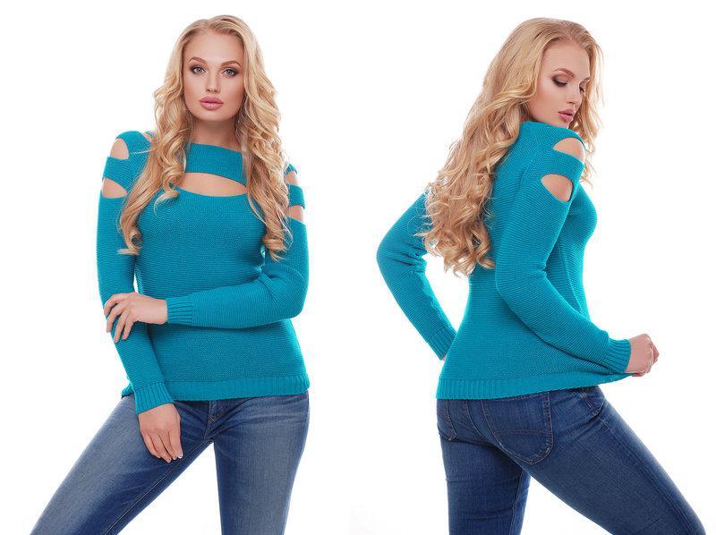 Женский красивый свитер / размер один 46-50 / цвет бирюза