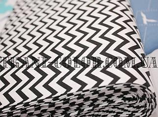 Ткань сатин для постельного и одежды принт зиз-заг
