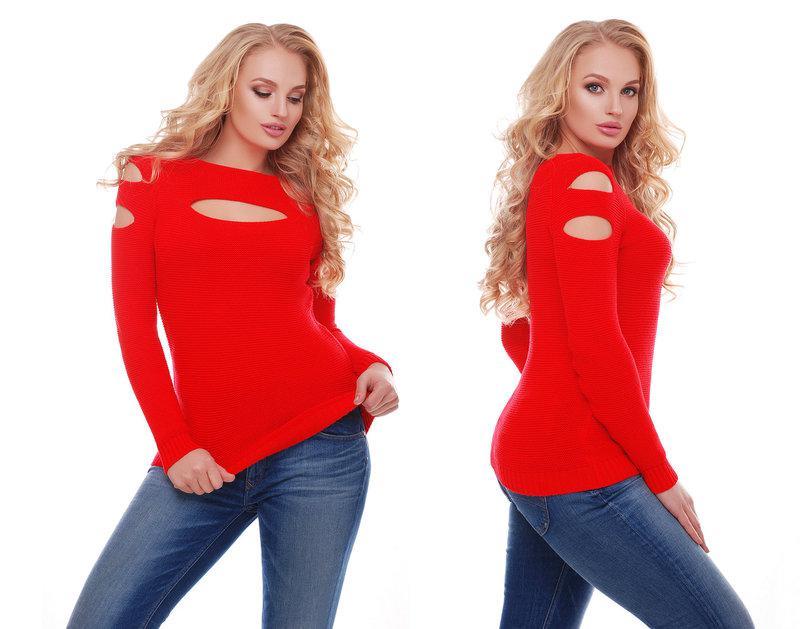 Женский красивый свитер / размер один 46-50 / цвет красный