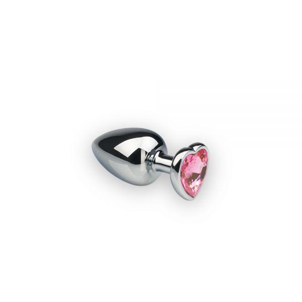 SLash - Анальная пробка,Silver Heart, розовый камень, S