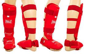 Защита ног (голень+стопа) разбирающ. с футами для единоборств PU ELS BO-3958-R(L) (р. L, красный)