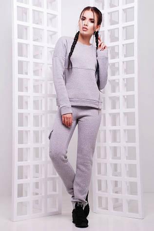 583f4fa6 Теплый спортивный женский костюм на флисе светло-серый - купить по ...
