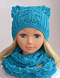 Вязаная шапка кошка с ушками, Разные цвета, 52, фото 6
