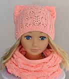 Вязаная шапка кошка с ушками, Разные цвета, 52, фото 9
