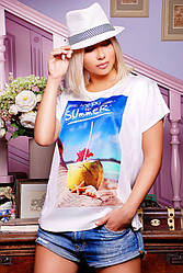 """Свободная женская белая футболка с коротким рукавом и принтом Happy summer """"Air"""""""