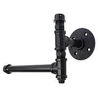 220 мм Промышленная железная трубка Держатель для ткани Ручная настенная черная ручка для туалетной бумаги