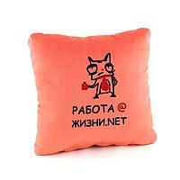 Подушка подарочная коллегам и друзьям «Работа @ » флок/ подушка сувенирная