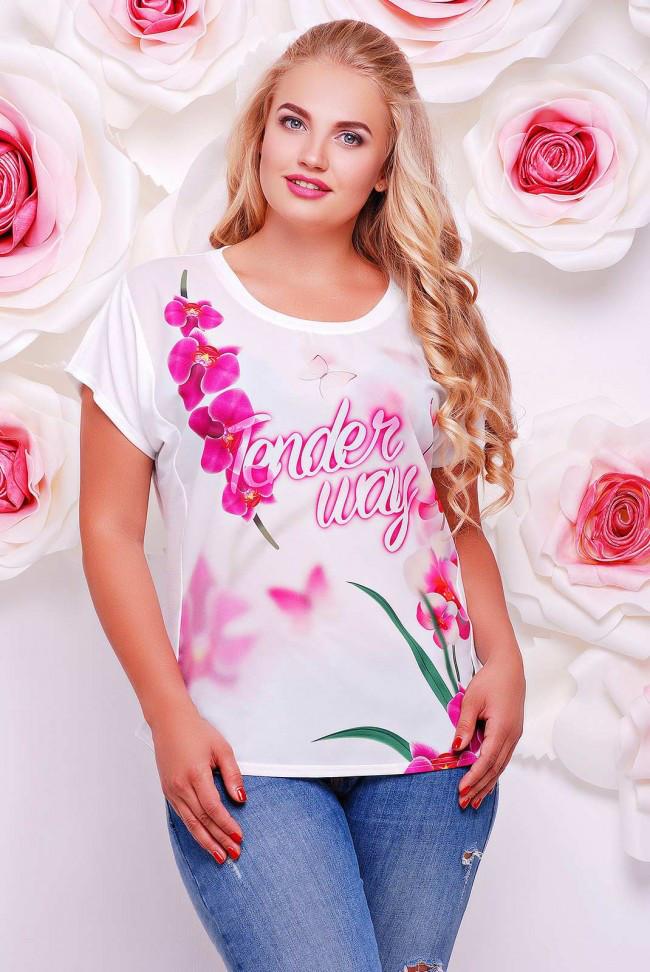 """Широкая женская белая футболка с коротким рукавом и цветочным принтом Веточки орхидеи """"Air"""""""