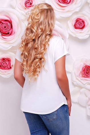 """Широкая женская белая футболка с коротким рукавом и цветочным принтом Веточки орхидеи """"Air"""" , фото 2"""