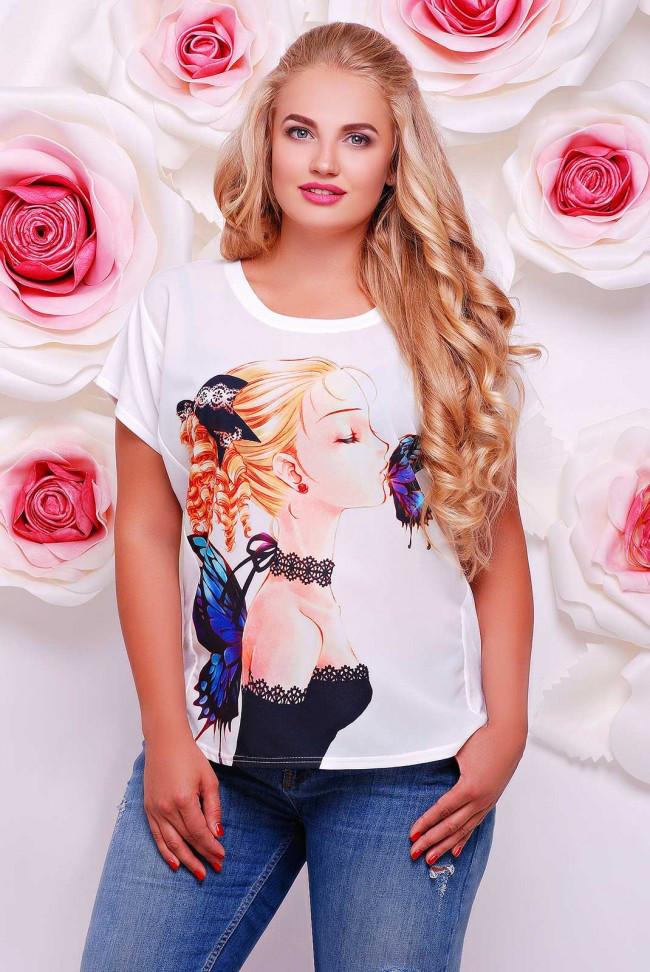 """Широкая женская белая футболка с коротким рукавом и принтом  Девушка с бабочкой """"Air"""""""