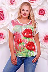 """Широкая женская белая футболка с коротким рукавом и цветочным принтом Красные пионы """"Air"""""""