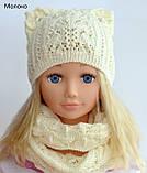 Весняна шапка з вушками Колір Світло-сірий Розмір 50-56, фото 2