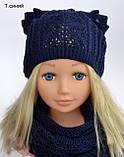 Весняна шапка з вушками Колір Світло-сірий Розмір 50-56, фото 4