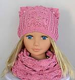 Весняна шапка з вушками Колір Світло-сірий Розмір 50-56, фото 5