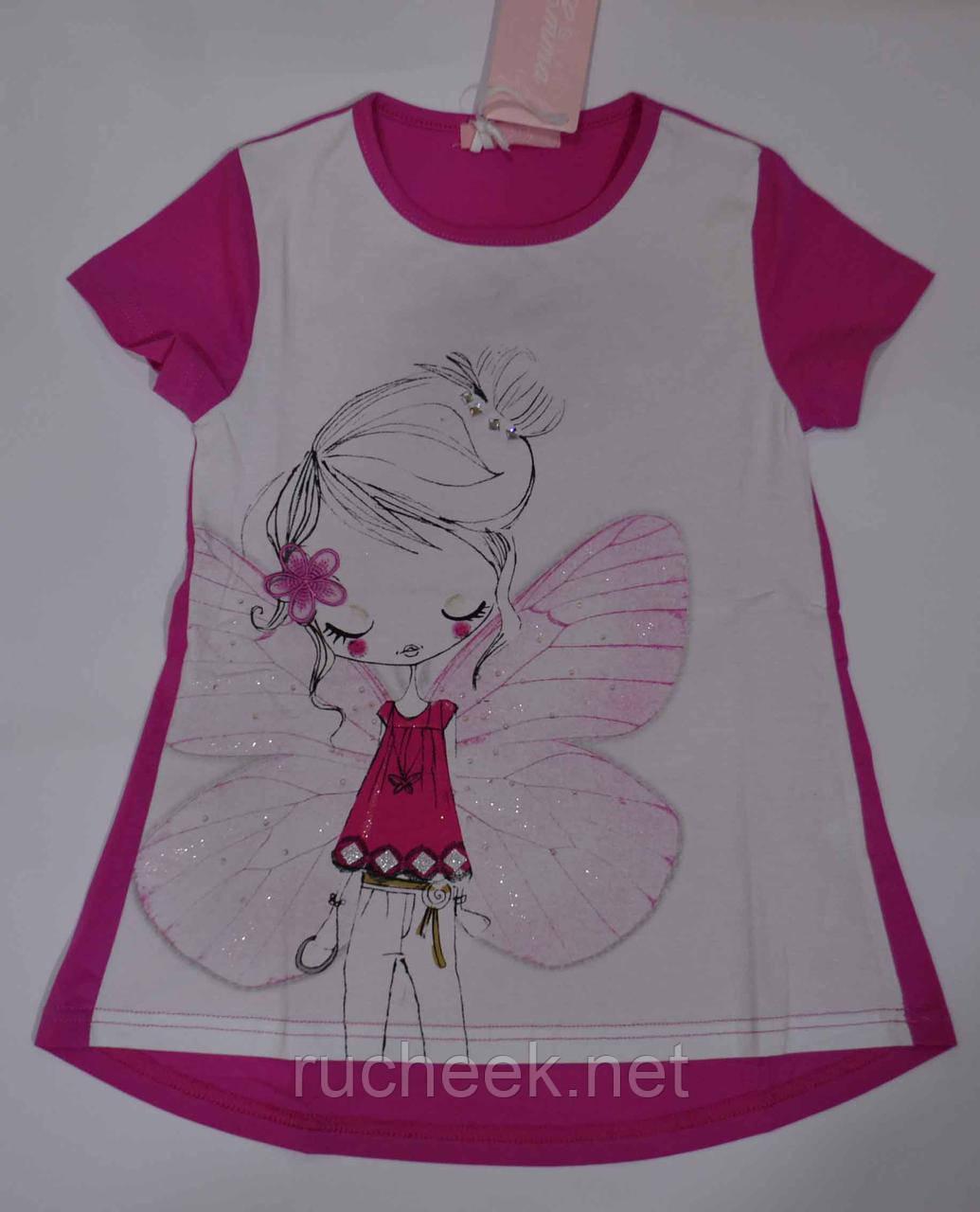 Детска футболка для девочки принт бабочка рост 110 -116,  Венгрия Emma girl